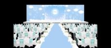 蓝色婚礼t型舞台效果图