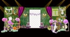 森系爱丽丝叶墙壁灯装饰展示签到婚礼效果图