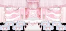 粉色清新纱幔花环吊顶异形婚礼主背景效果图