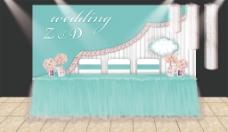 蓝色婚礼签到区设计