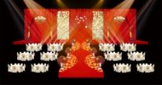 红金色石块墙面水晶灯婚礼主背景效果图