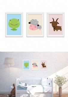 北欧极简可爱动物儿童房装饰画无框画