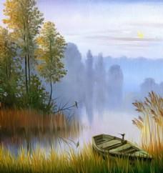 河边风景油画装饰画素材