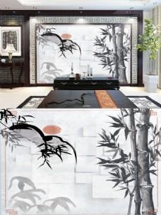 水墨竹子背景墙
