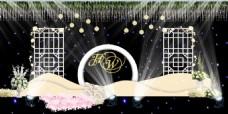 纸藤花星空幕布背景婚礼迎宾区设计