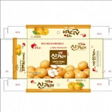韩国梨包装盒矢量图水果包装盒