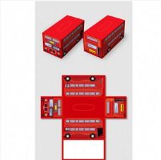 创意矢量卡通伦敦双层巴士抽纸盒