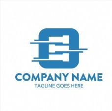 蓝色正方形时尚logo矢量素材