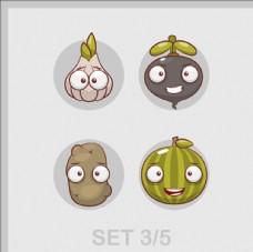卡通快乐的蔬菜集