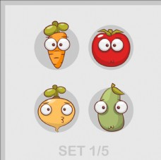 卡通快乐的蔬菜