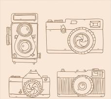 手绘老相机插图集