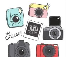 手绘卡通相机插图集