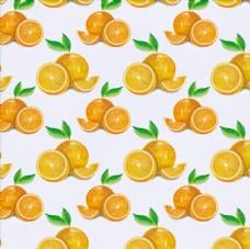 水彩四方连续橙子图案