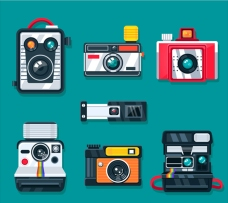 彩色平面怀旧相机集合