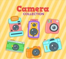 彩色平面卡通相机集
