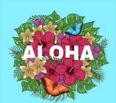 夏季热带花卉插图