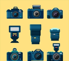 手绘相机与闪光灯插图