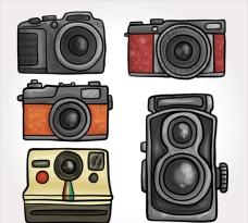 手绘复古相机插图