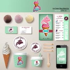 带卡片和电话矢量的冰淇淋