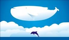 可爱海豚鲸鱼矢量图