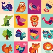 扁平化卡通动物
