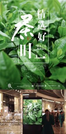 清新绿色茶叶新茶上市促销商业海报