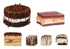 巧克力蛋糕矢量素材