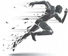 创意扁平化晶块化粒子化运动奔跑