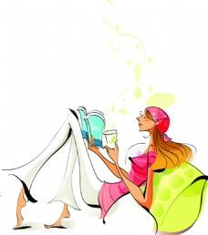 喝下午茶的女士png免扣元素
