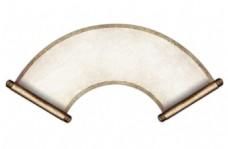 手绘扇形卷轴元素