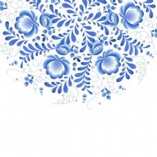 盛开的半朵青花瓷中国风典雅花型设计