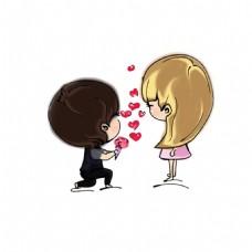卡通求婚情侣png免扣元素
