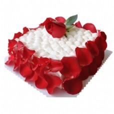 浪漫红心花瓣蛋糕png免扣元素