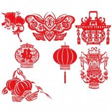 手绘剪纸中国风元素