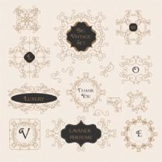 字符英文复古花纹边框装饰图案矢量