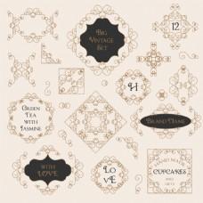 方块复古花纹边框装饰图案矢量