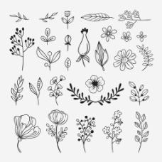 花朵树叶桂冠矢量插画设计装饰素材
