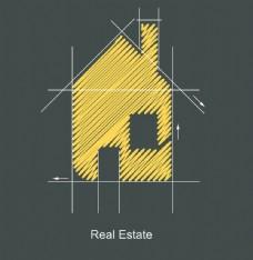 扁平化线条房子手绘房子