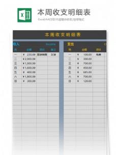 本周收支明细表excel表格模板
