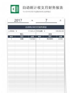 自动统计收支月财务报表excel表格模板