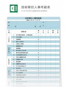 技術單位人事考績表excel模板表格