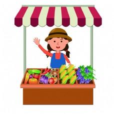 卡通造型果蔬摊位