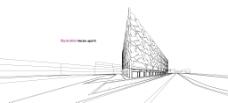手绘线条创意建筑插画