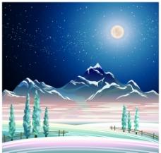 月光下的雪山风景插画