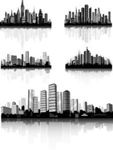 繁华城市剪影插画
