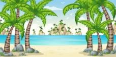 大海上的绿色小岛插画