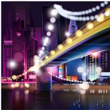 城市里的夜景插画