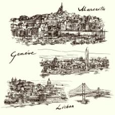 手绘复杂的城市建筑插画