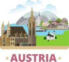 奥地利建筑风景插画