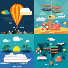 扁平创意旅行插画